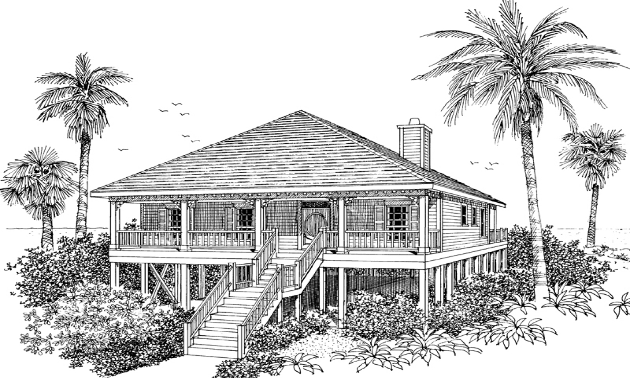 Raised beach house raised beach cottage house plans beach for Beach house drawing