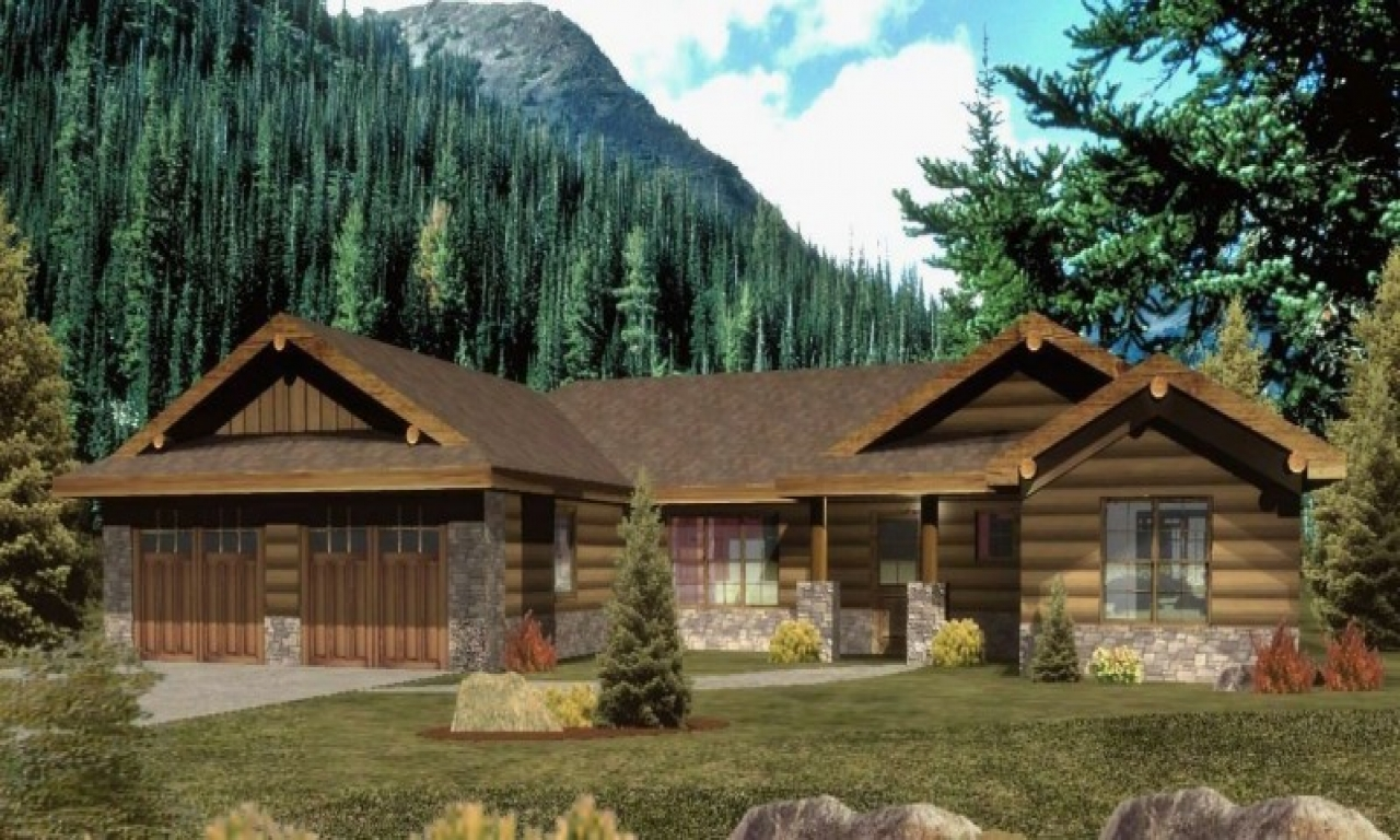Ranch style log home plans ranch style log homes with wrap for Ranch log homes