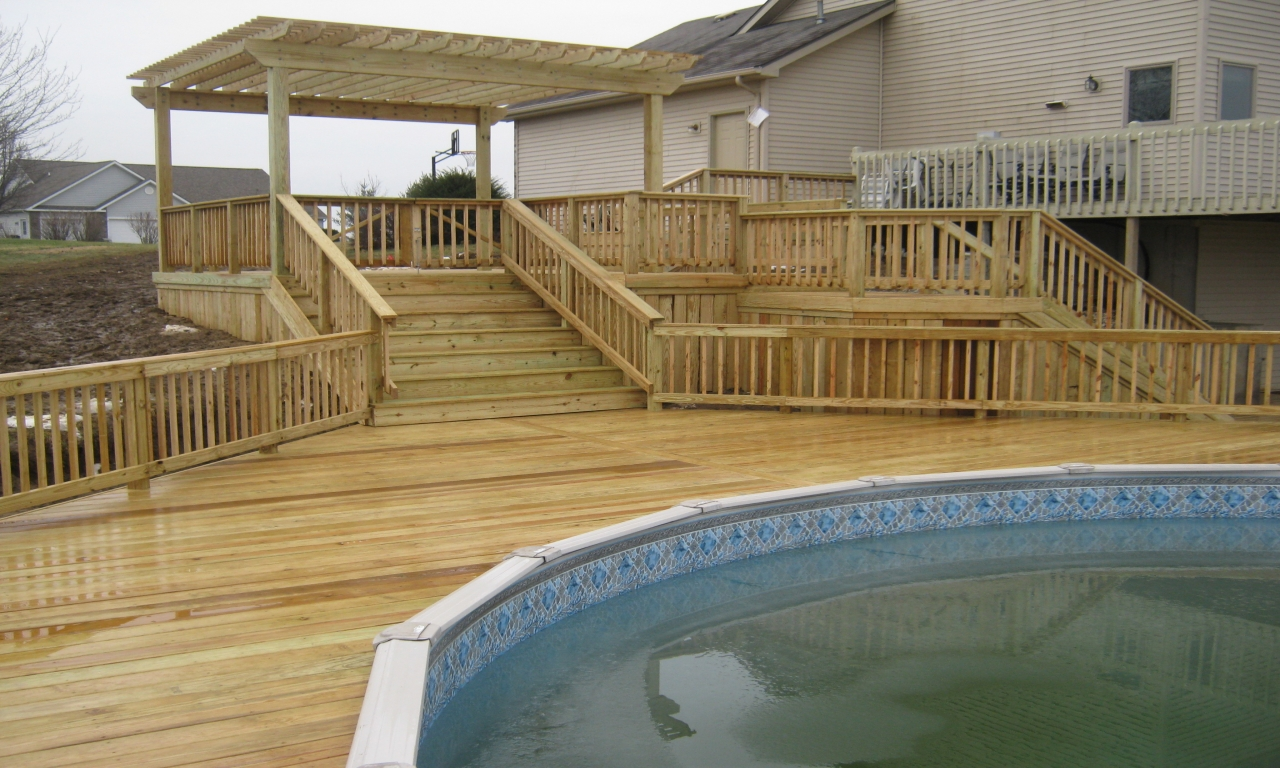 Diy above ground pool deck above ground pool deck design - Above ground pool decor ...