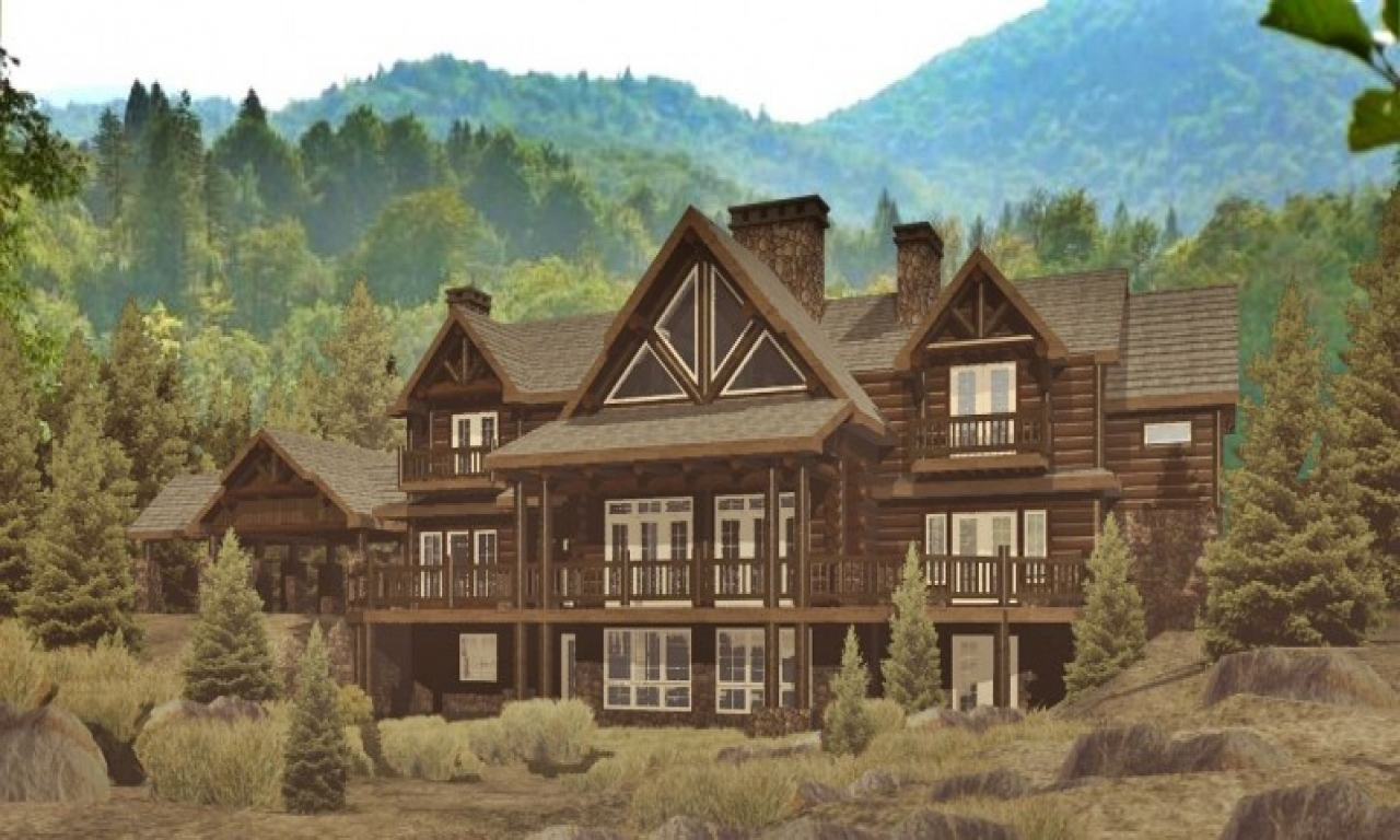 Lodge log homes floor plans log lodge designs log lodges for Log lodges floor plans