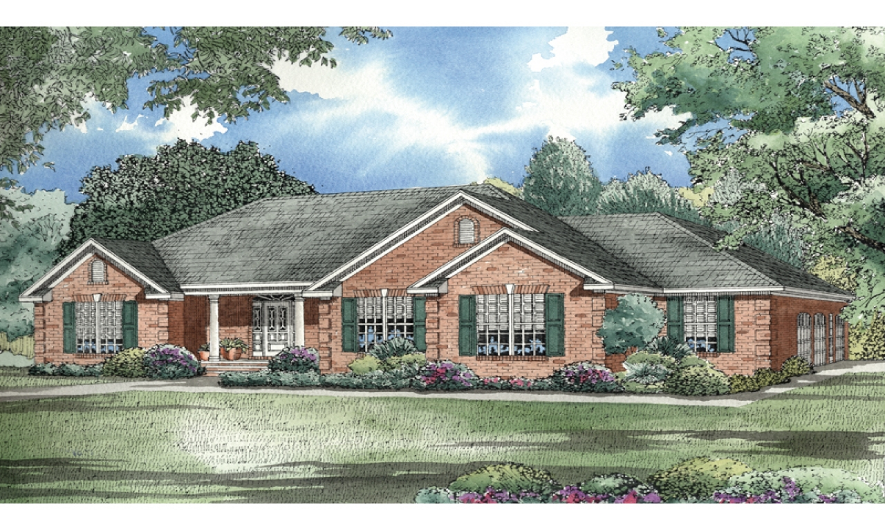 Modern ranch style homes brick home ranch style house for Brick ranch house plans basement