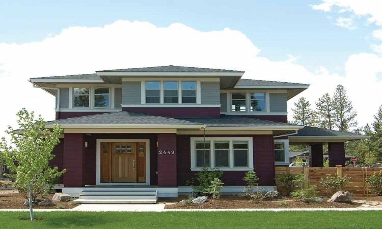Prairie style bungalow craftsman prairie style house plans for Prairie style home designs