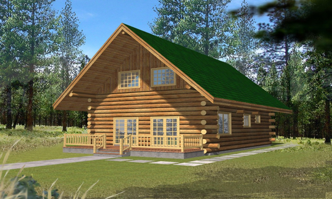 Small log cabins with lofts 2 bedroom log cabin homes kits for Two room log cabin