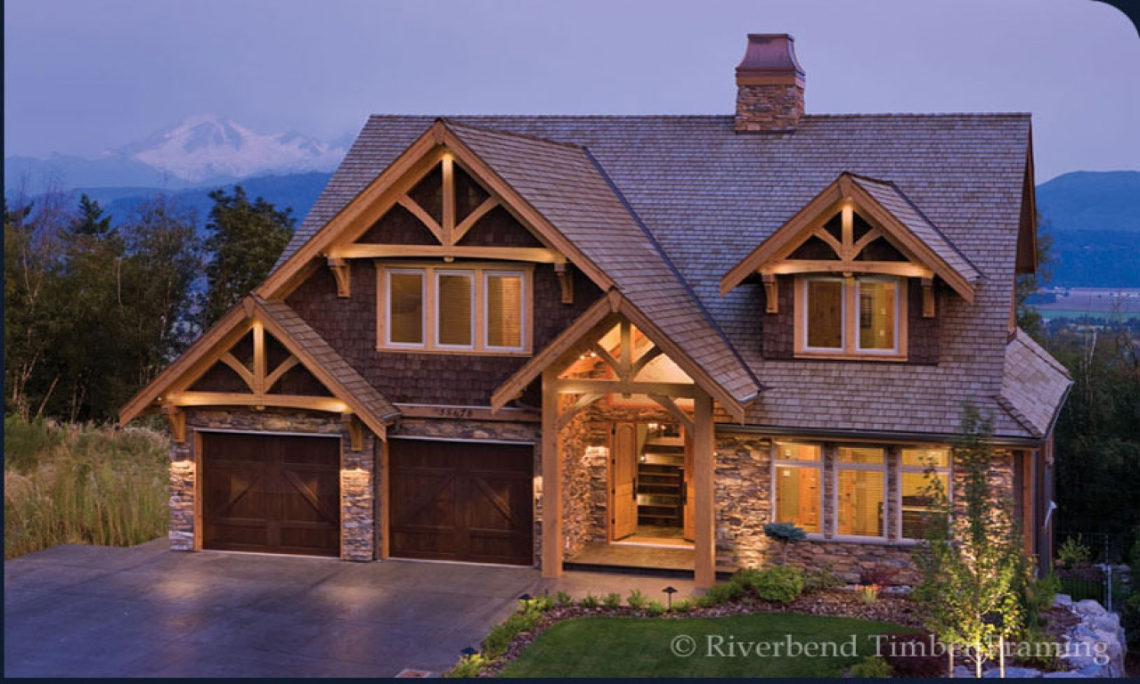 Stone and timber home designs riverbend timber frame homes for Timber frame home plans designs