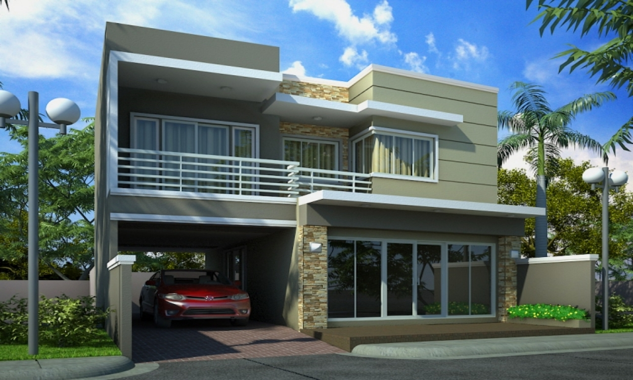 Two Storey House Front Elevation : Two story modern house elevation designs