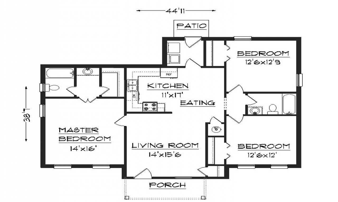 2 bedroom house plans simple house plans floor plan of for Simple 6 bedroom house plans