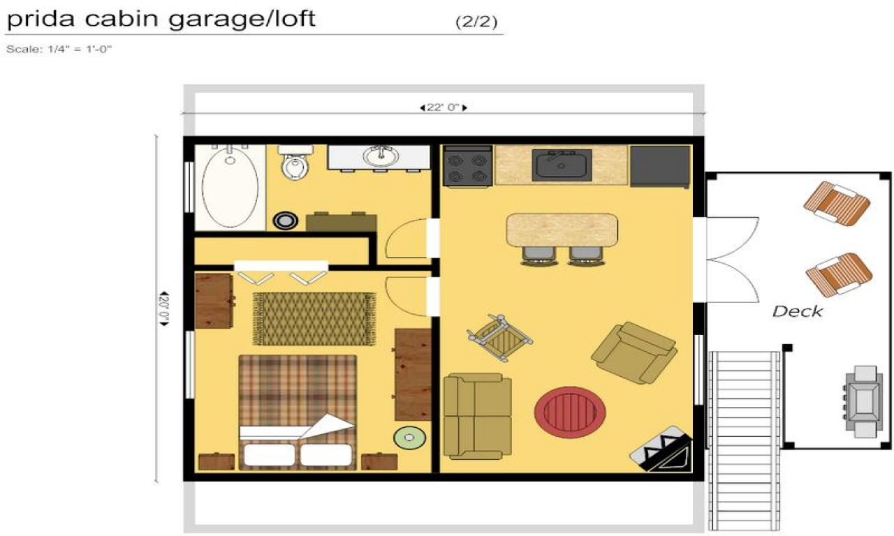 Cabin floor plans with loft cabin floor plan with garage for Loft floor plans with dimensions