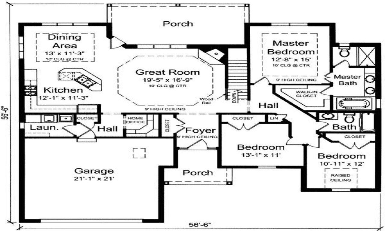 Double bedroom 3 bedroom single level house floor plans for One level floor plans