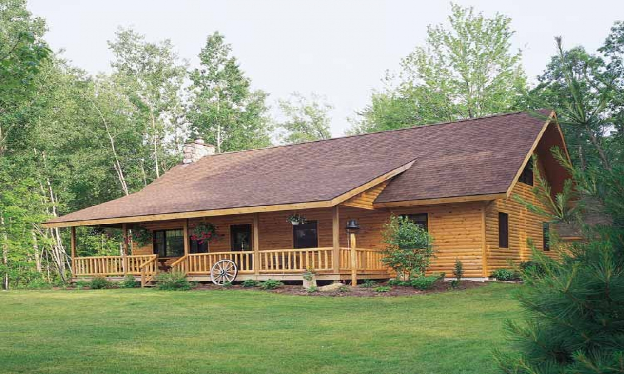 Log style house plans ranch log cabin plans cabin style for Log cabin designs