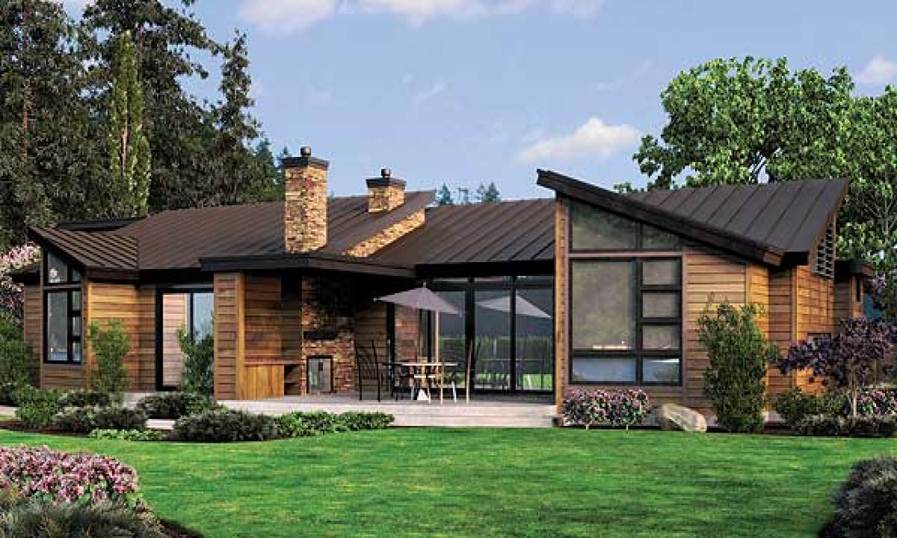 Simple one story houses single story contemporary house - Single story 4 bedroom modern house plans ...