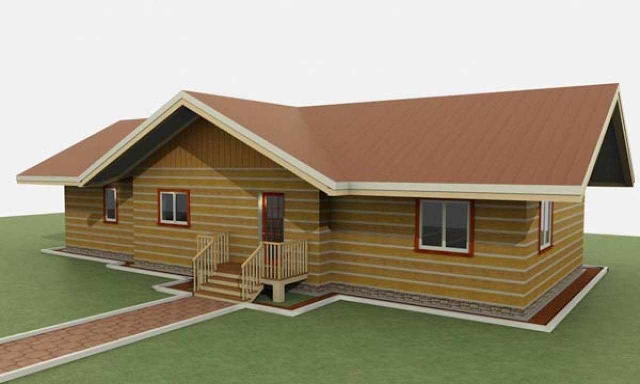 Single level ranch style log homes ranch style house plans for Single level log home plans