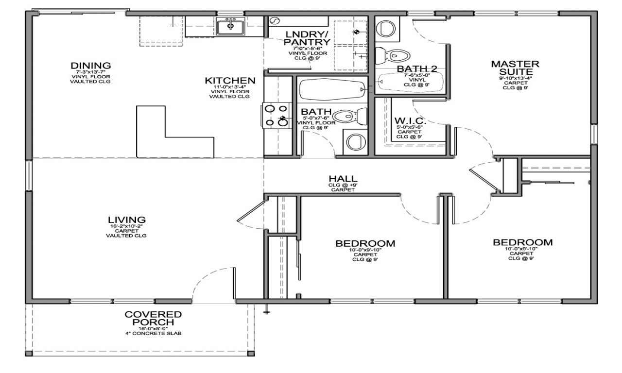 2 Bedroom House With Garage Small 3 Bedroom House Floor Plans Very Simple Small House Plans