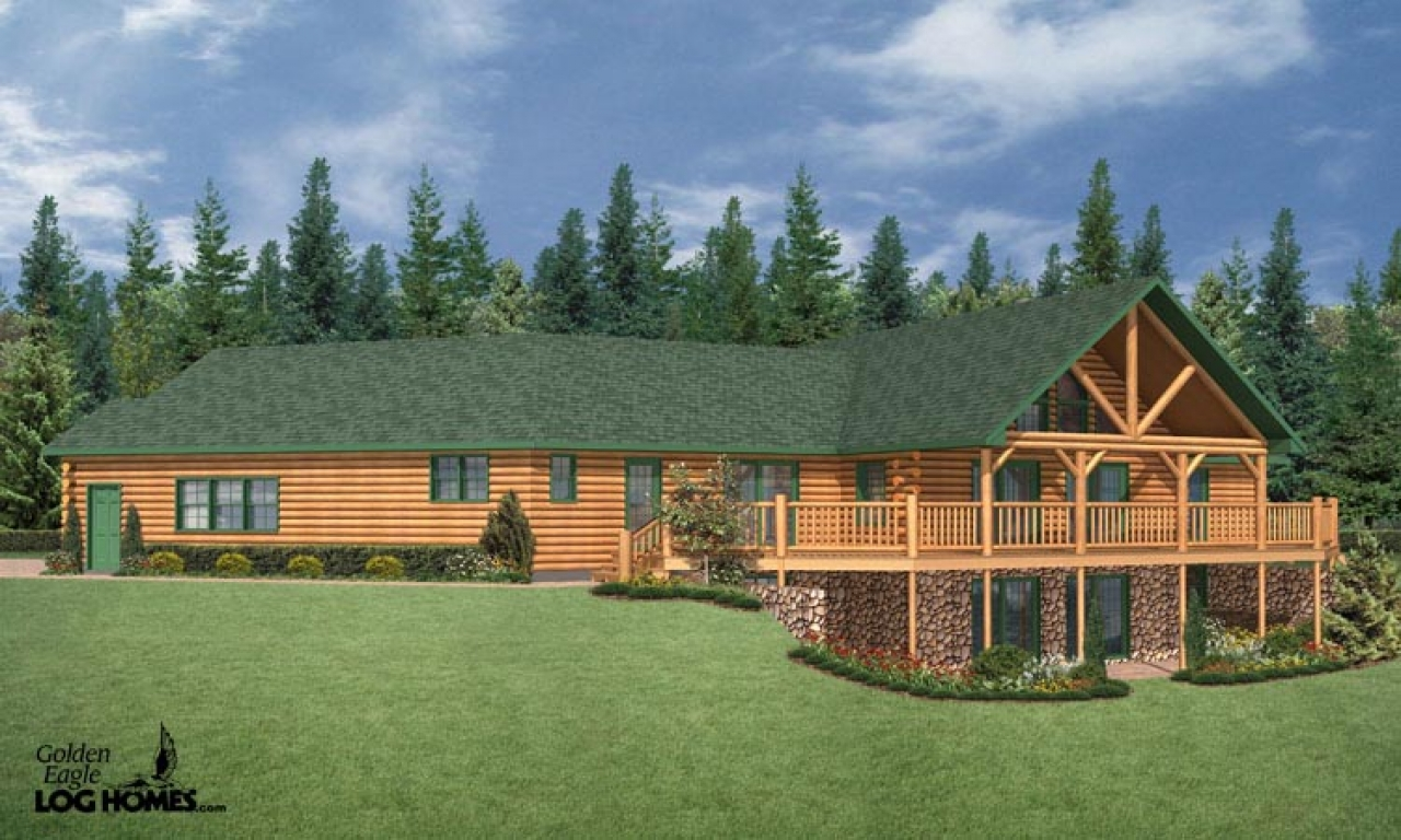 Log cabin ranch style home plans log cabin interiors for Log cabin ranch style homes