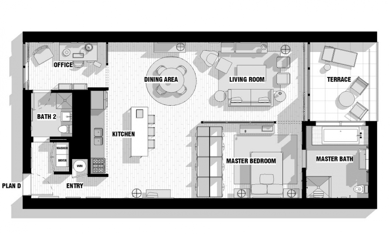 Modern loft floor plans one bedroom loft floor plans for One bedroom loft floor plans