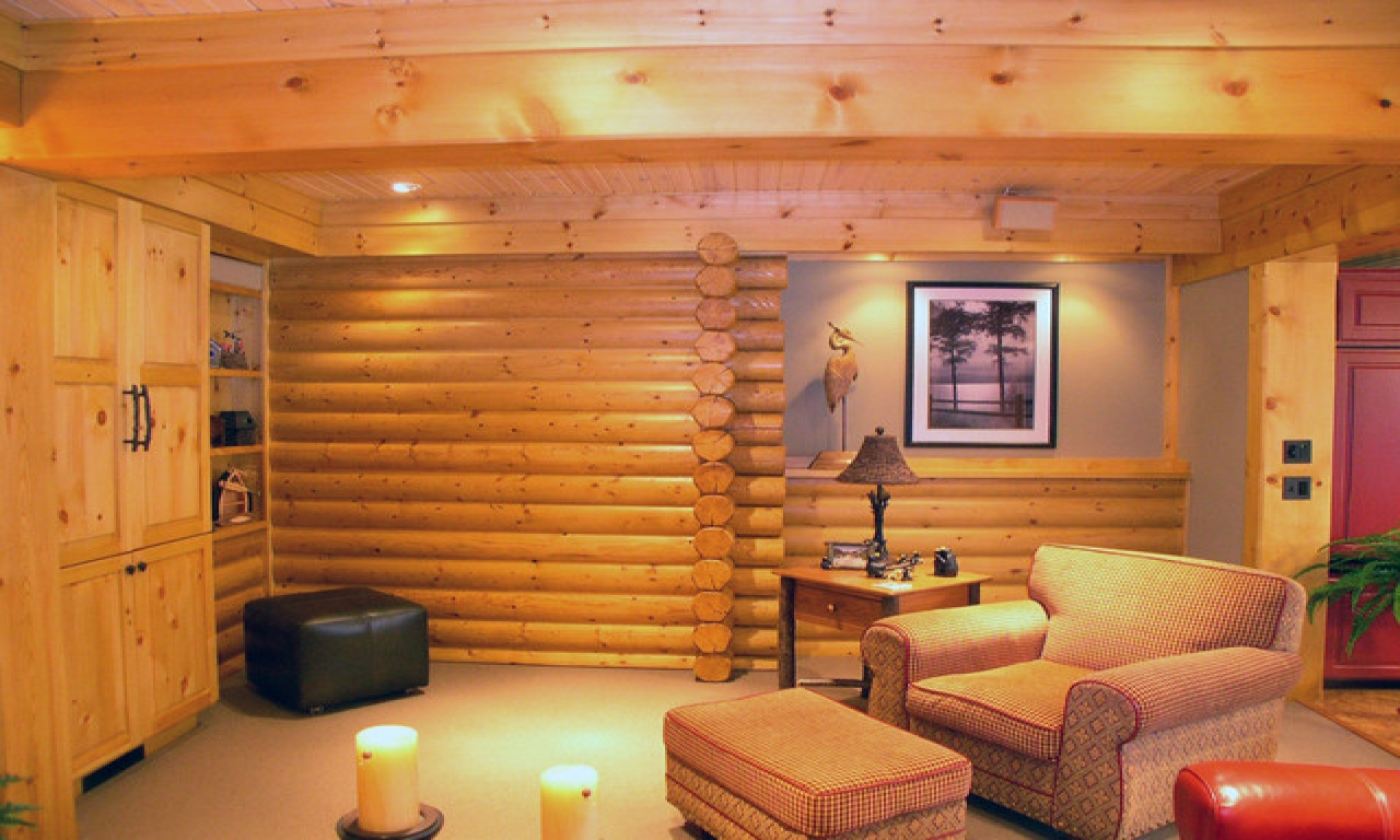 Modern log cabin interiors log cabin basement remodel log for Log cabin basement ideas