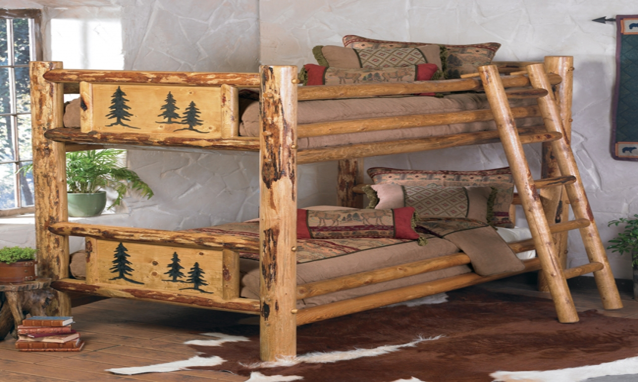 Rustic log cabin bunk beds beautiful log cabins 3 bed log for Log cabin style bunk beds