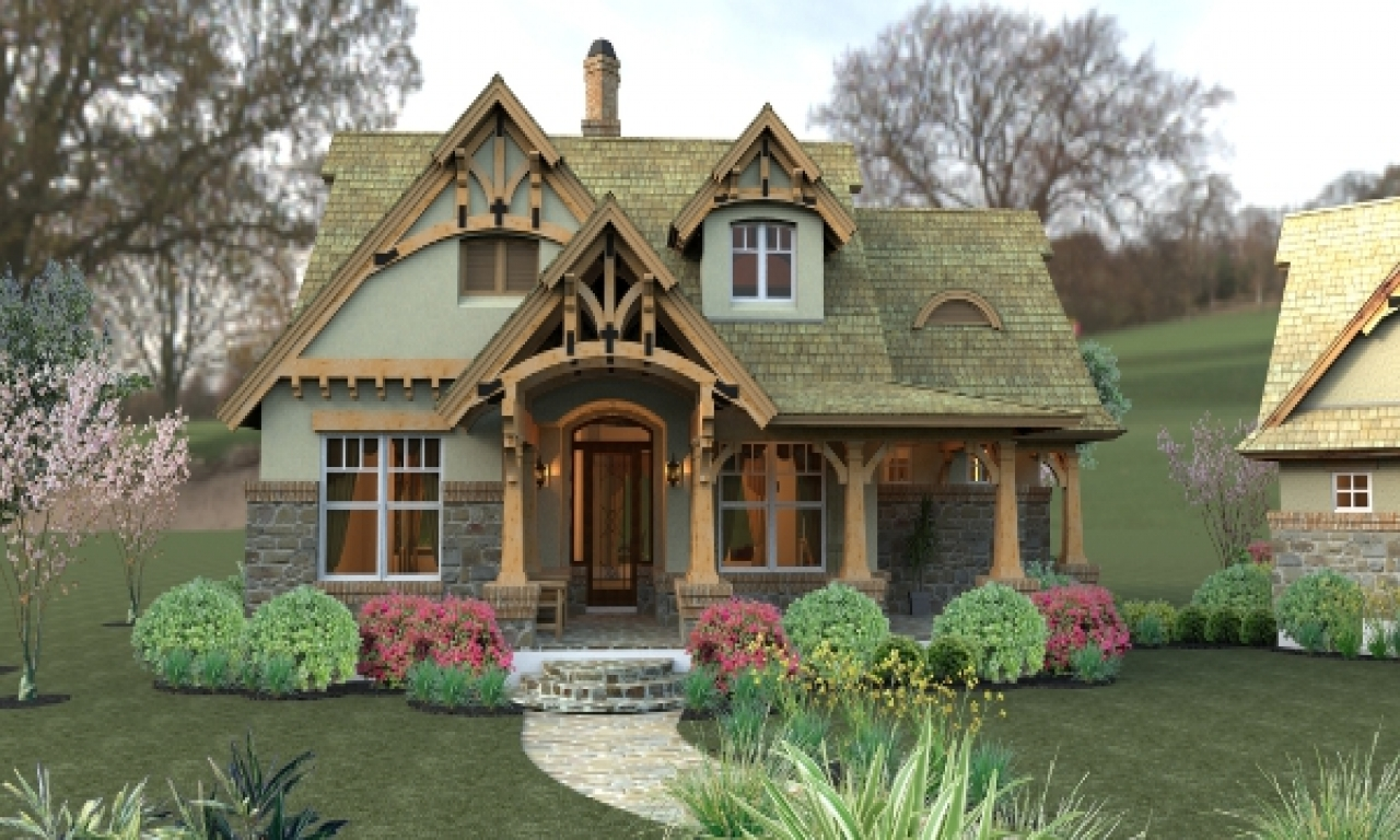Small craftsman cottage house plans small cottage in the for One story cottage