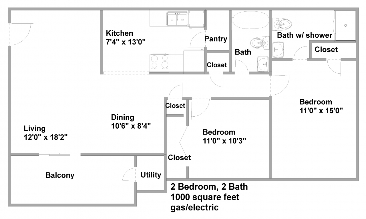 1000 square foot 1 bedroom 1000 square foot apartment for Floor plans 1000 square feet