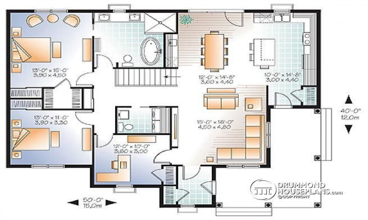 3 bedroom open floor plan 3 bedroom house plans with two for Double master suite floor plans