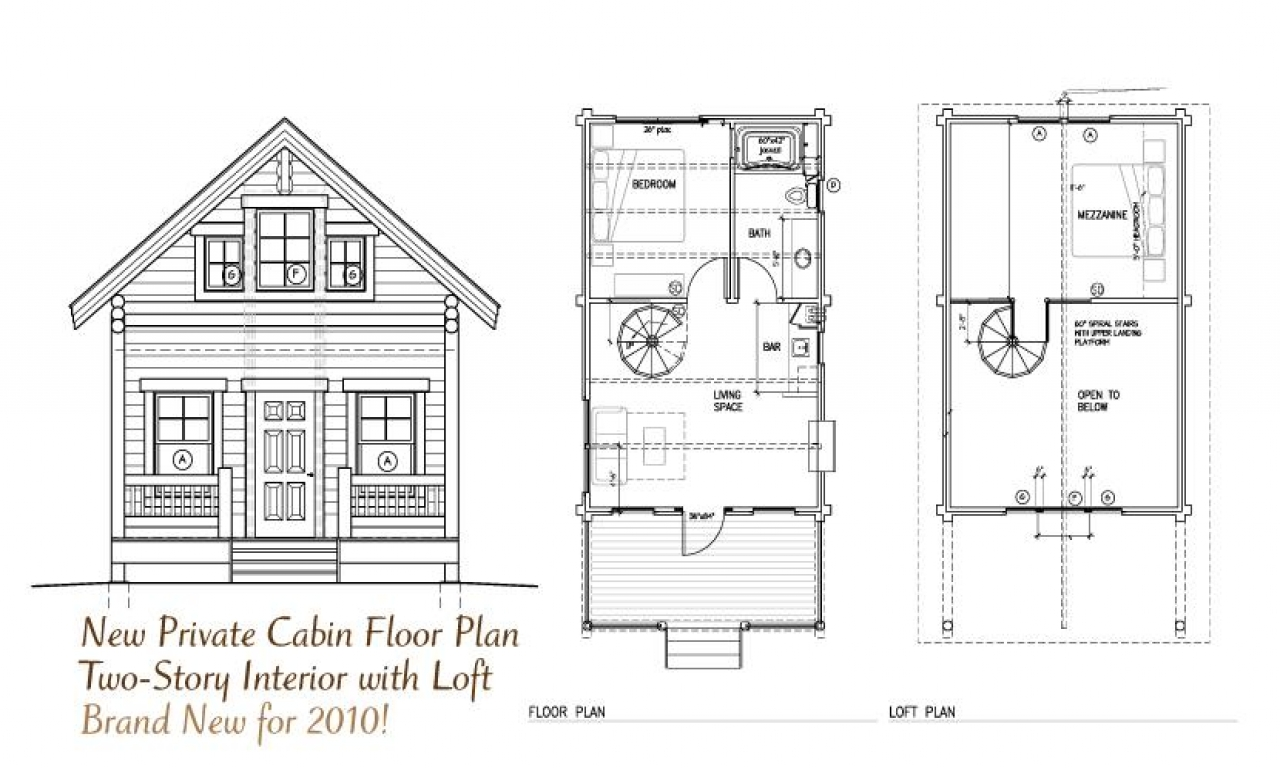 Tiny Home Designs: Cabin Open Floor Plans With Loft Inexpensive Small Cabin