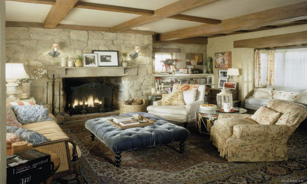 English Cottage Living Room Fireplace Country Cottage