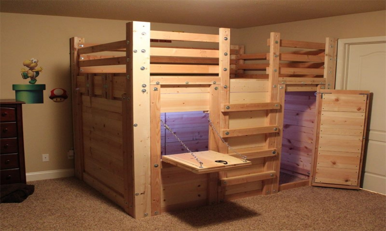 Fort Beds For Boys Queen Loft Bed Fort Plans Cabin Bed Plans Treesranch Com