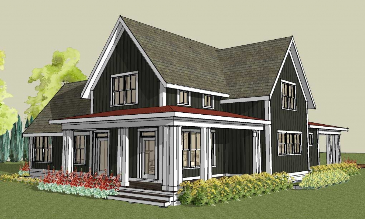 Large Gable Roof House Plan Farmhouse House Plans With