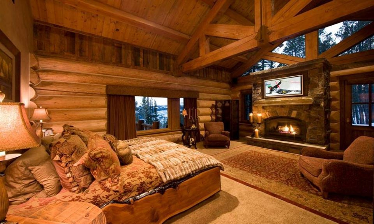 Log cabin bedroom log cabin master bedrooms 2 bedroom log for Two room log cabin