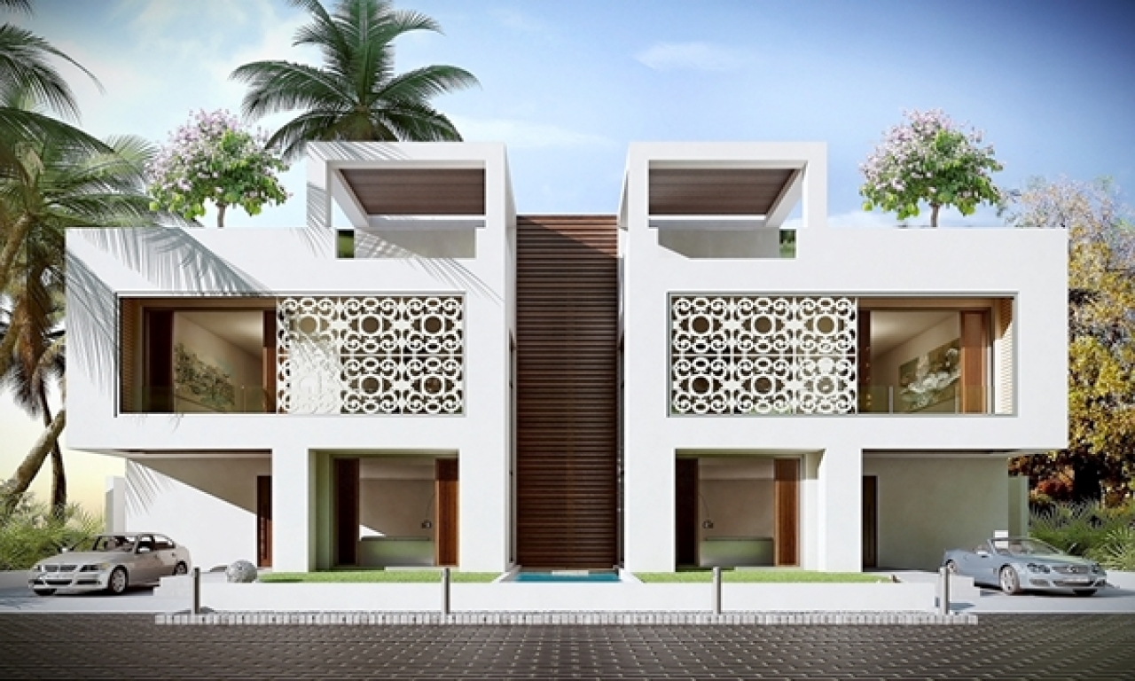 Modern exterior design front elevation modern design for Bungalow design concept