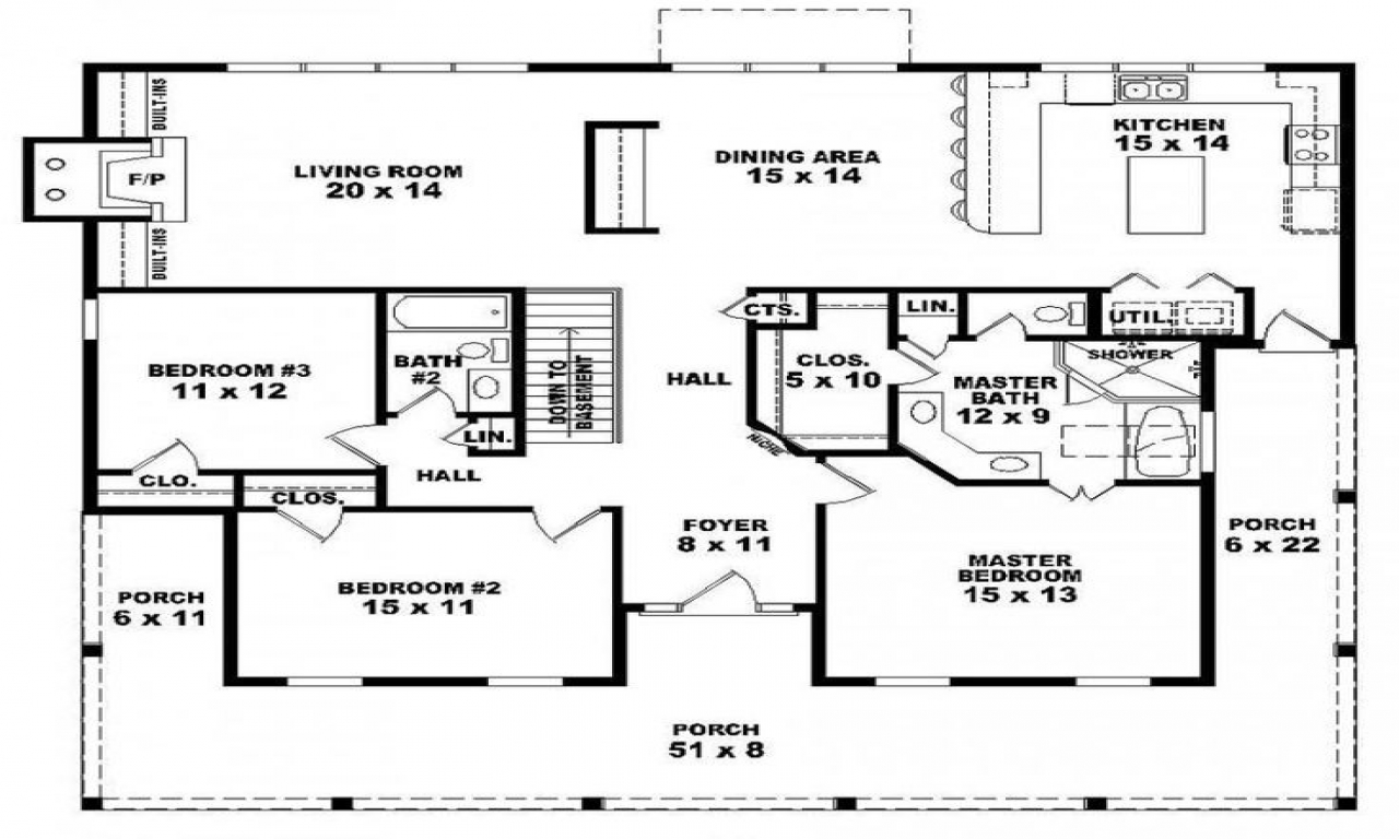 One story 3 bedroom 2 bath house plans 3 bedroom houses for 1 bedroom 1 5 bath house plans