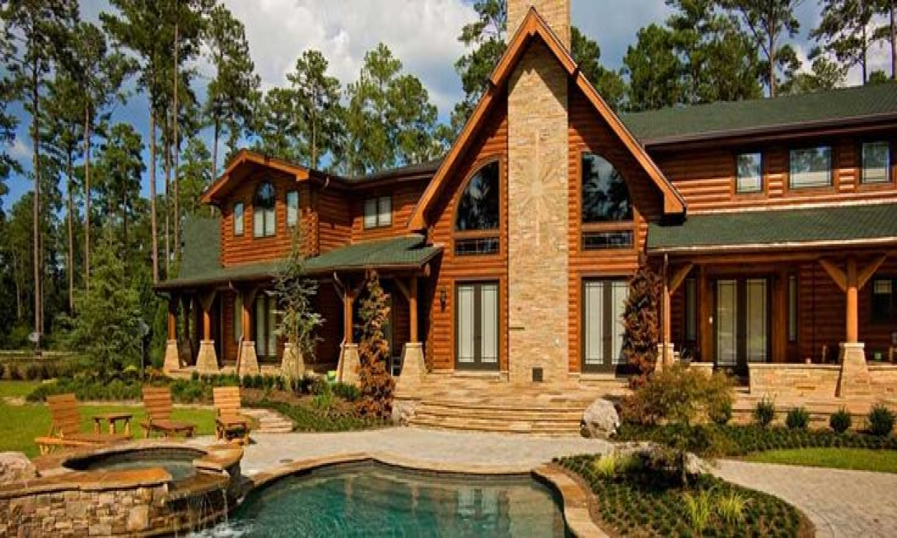 Pin by log and timber homes council on log beautiful for Log stone homes