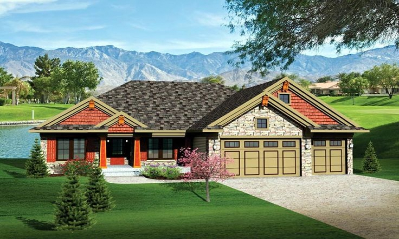 Ranch house plans with 3 car garage ranch house plans with Cabin plans with garage