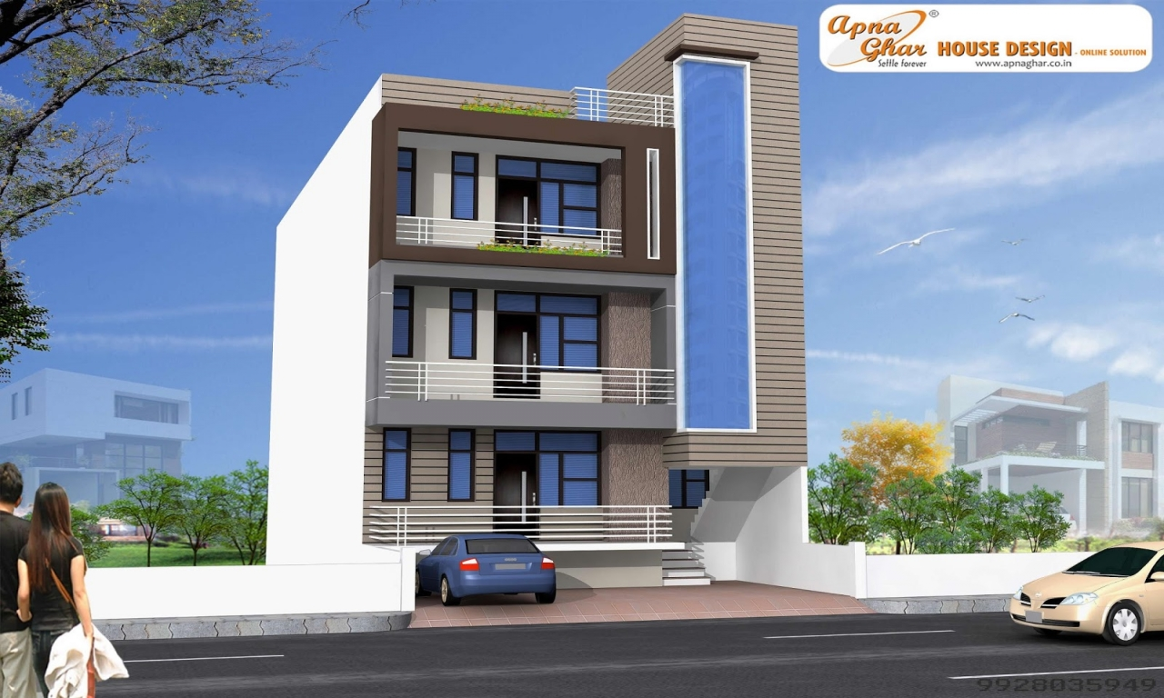Single front elevation house photo gallery front house for Elevation design photos residential houses