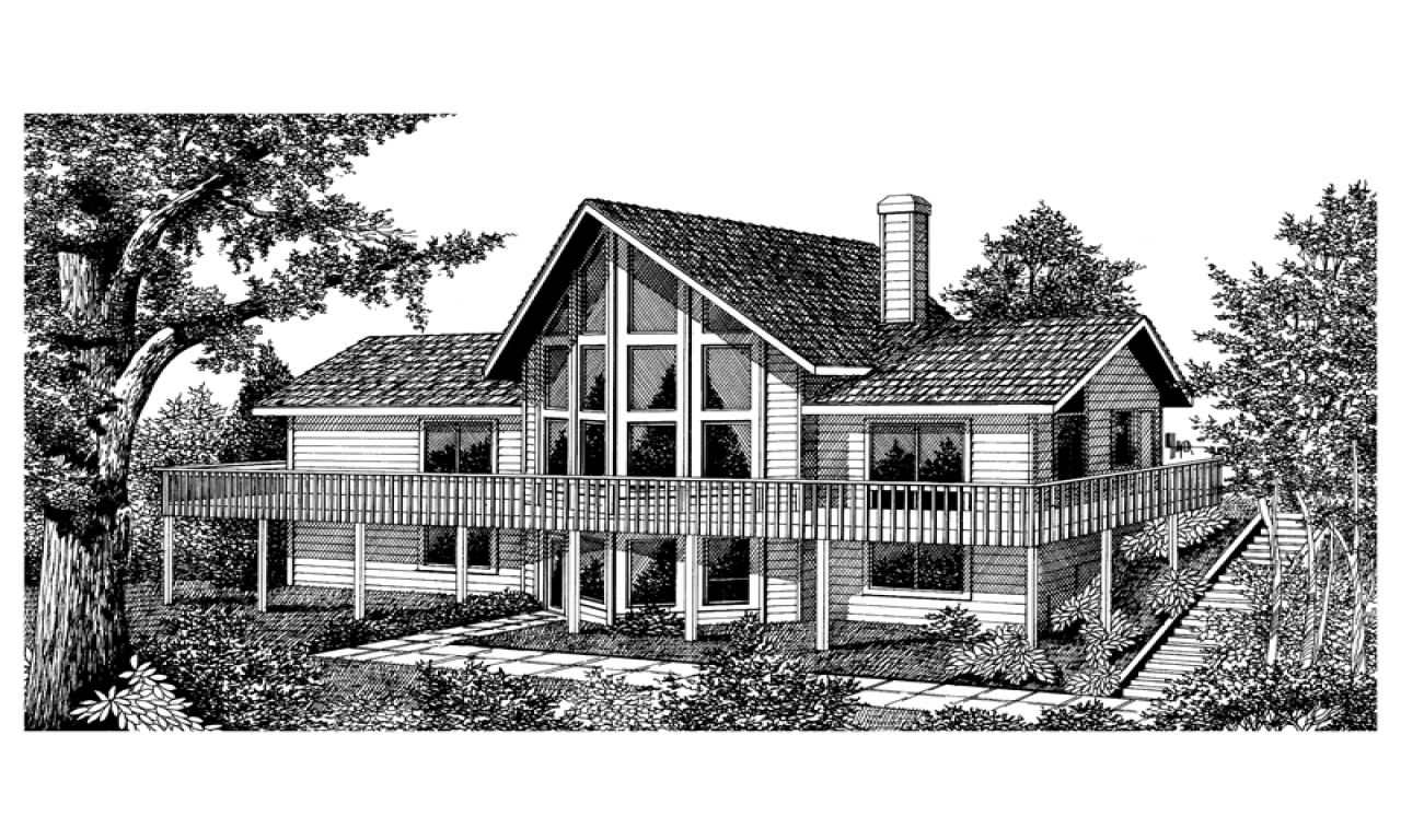 Vacation house plan front image of house 015d 0010 house for Vacation house plans