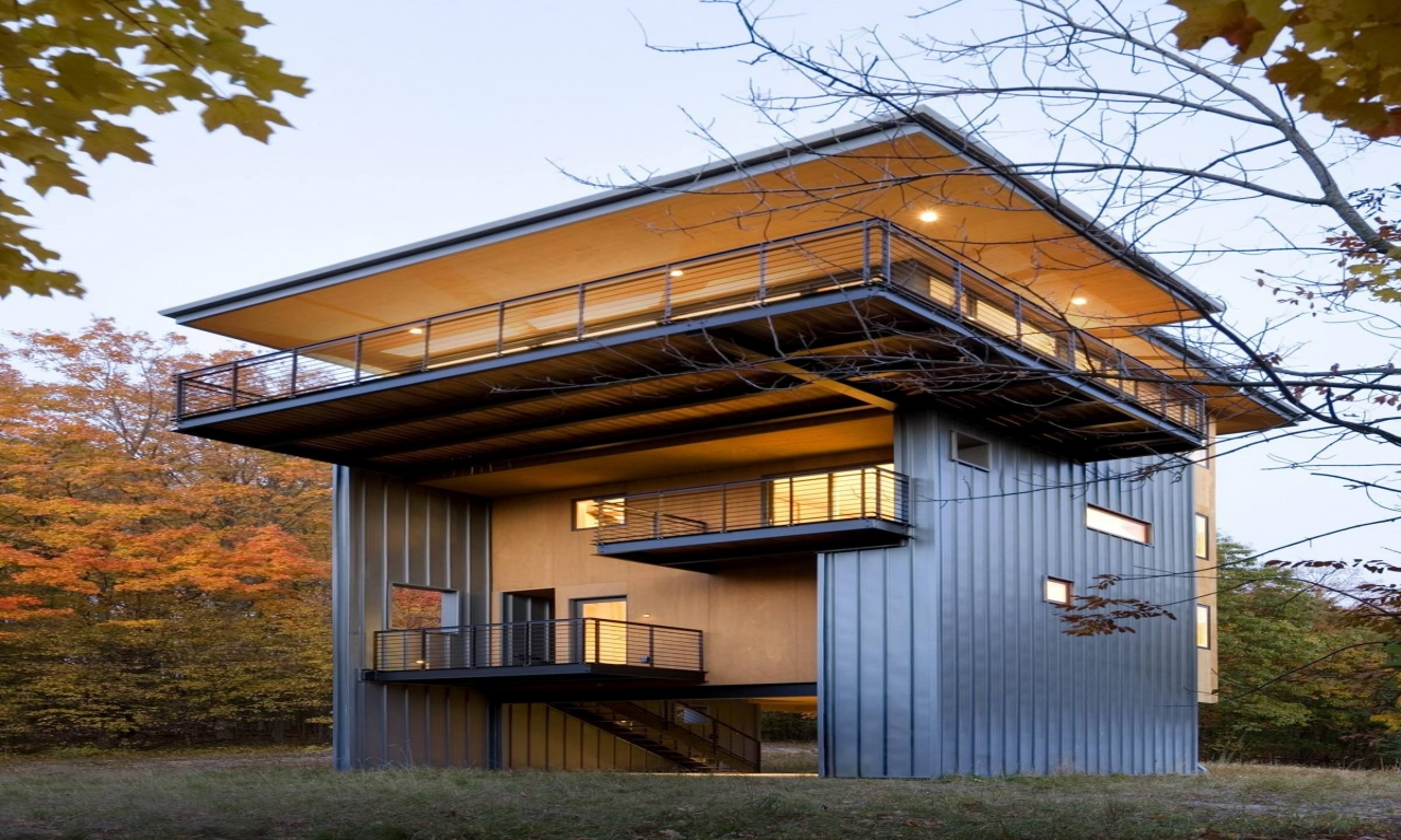 Glen Lake Tower House Modern Style House with Tower, lake ...