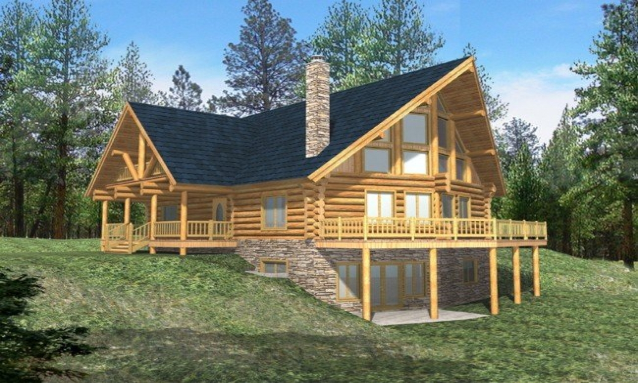 Log cabin bird house plans log cabin house plans with for Log home plans with basement