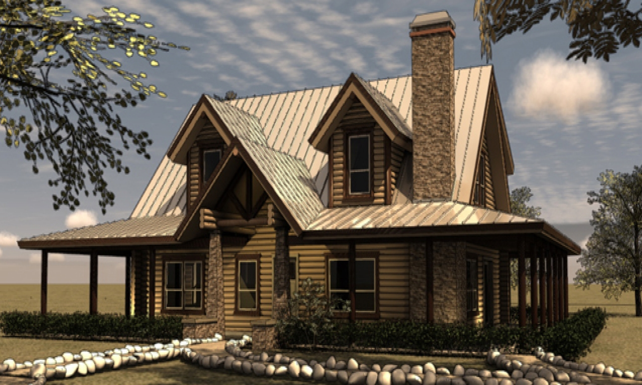 Log ranch home plans log home floor plans with wrap around for Full wrap around porch log homes