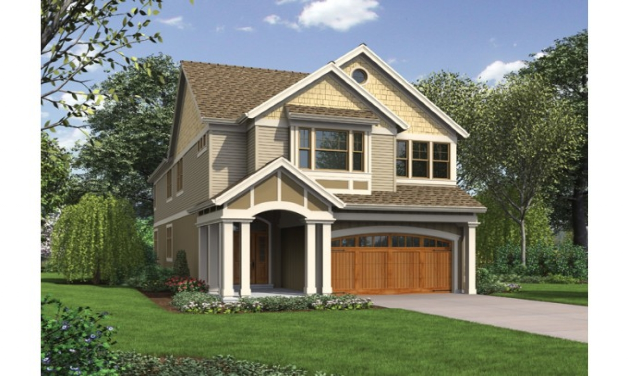 Narrow lot house plans with front garage narrow lot house for Very narrow lot house plans