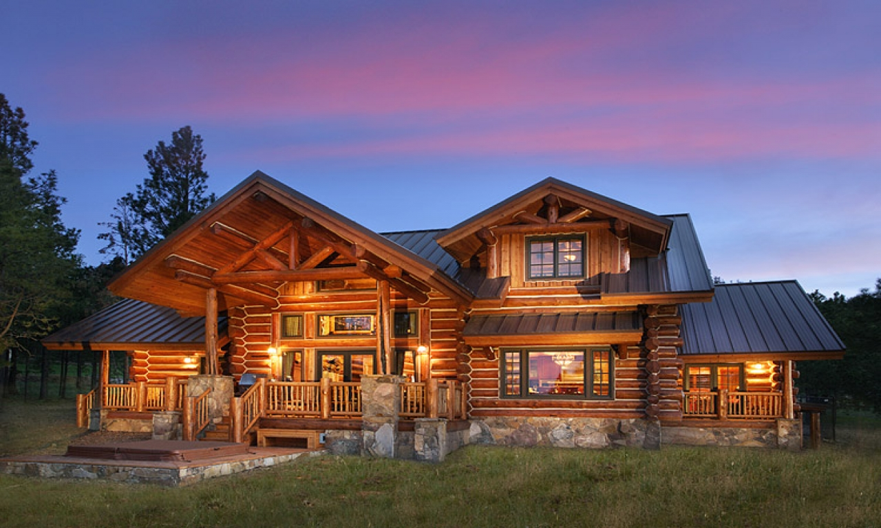 Ranch cabin photos log vacation homes hidden meadow ranch for Vacation log homes