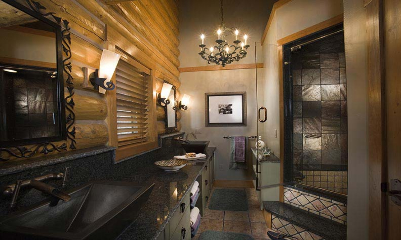 Master bathrooms with walk in showers log home master - Bathroom designs for home ...