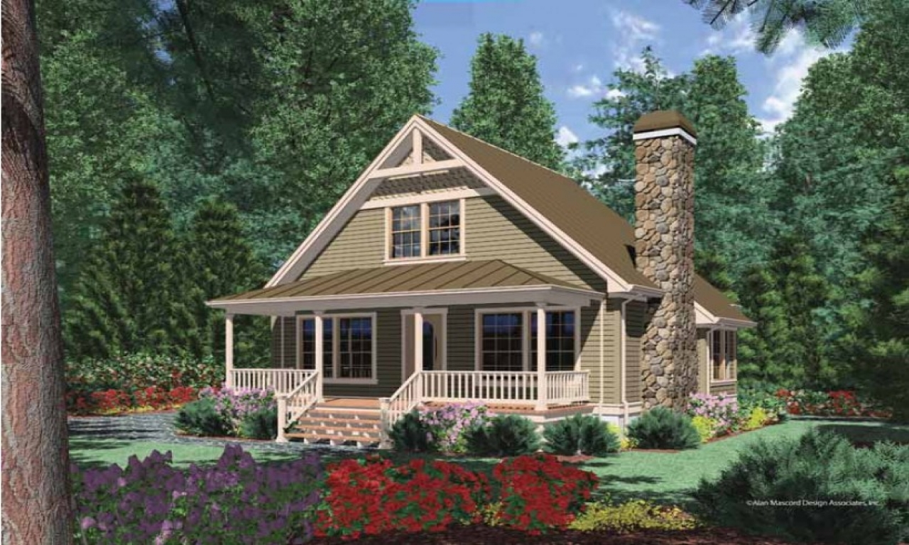Cottage house plans with porches cottage cabin house plans for Two story cottage plans