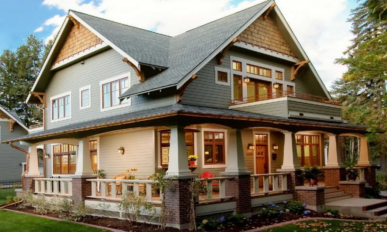 Craftsman style homes wrap around porch single story for One story craftsman homes