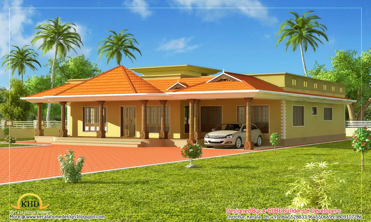 Kerala style single story house beautiful house designs for Beautiful one story homes