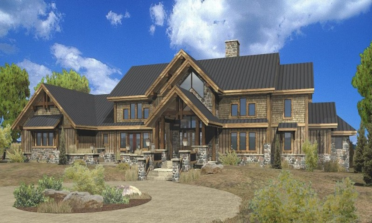 Large estate log home floor plans luxury mountain log for Luxury mountain house plans