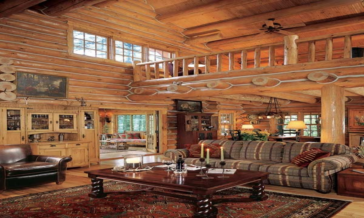 Log Cabin Great Room Fireplace In A Log Cabin Great Room