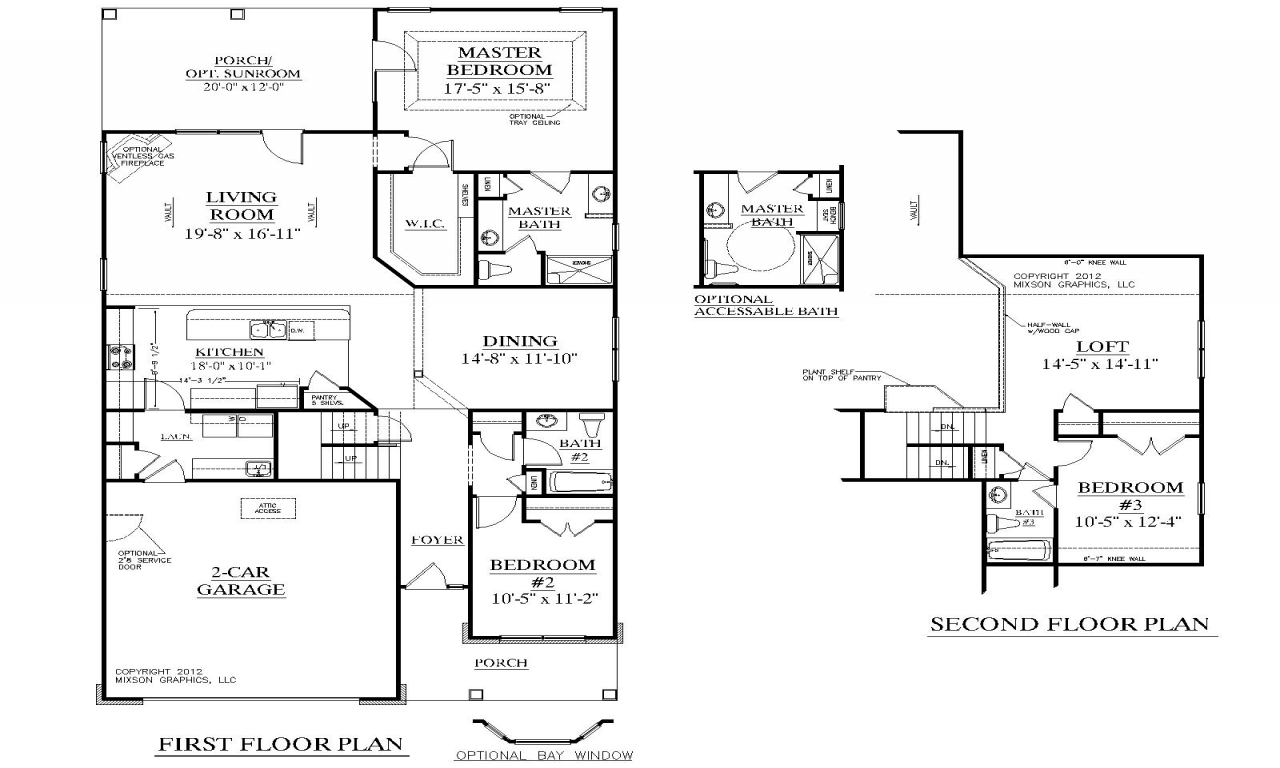 Long lots blueprints 3 bedroom 1 story 2 story 3 bedroom for 4 bedroom house with loft