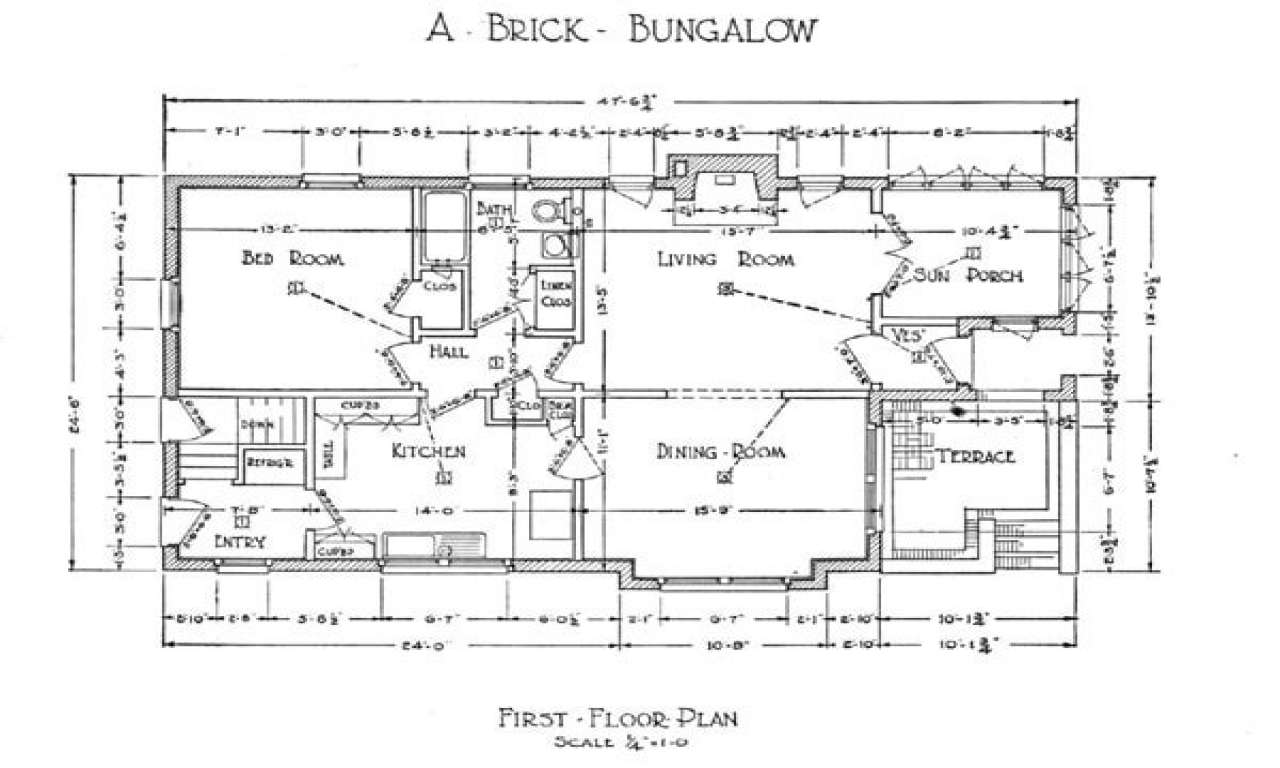 1918 craftsman bungalow floor plans craftsman bungalow for Bungalow building plans