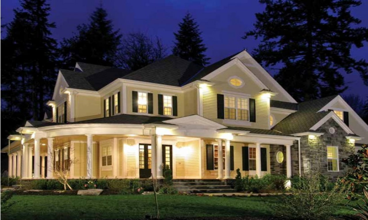 Country home plans with porches country home house plans for One level house plans with porch