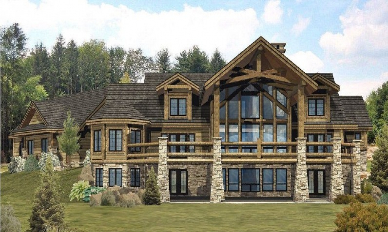 Custom log home timber frame amp hybrid home floor plans for Unique log home floor plans