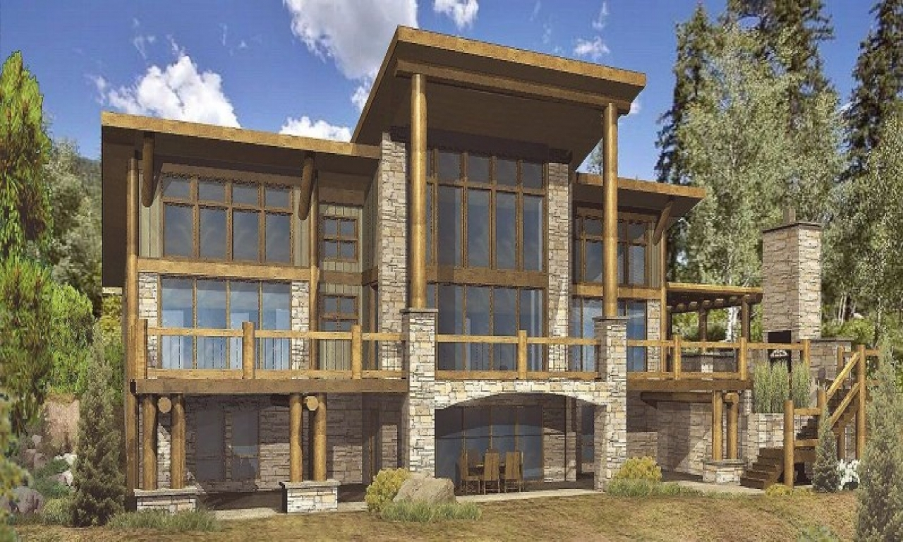 Stone and timber homes hybrid timber log home plans for Hybrid timber frame home plans